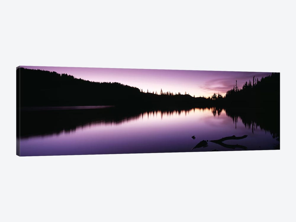 Reflection of trees in a lake, Mt Rainier, Mt Rainier National Park, Pierce County, Washington State, USA by Panoramic Images 1-piece Canvas Print