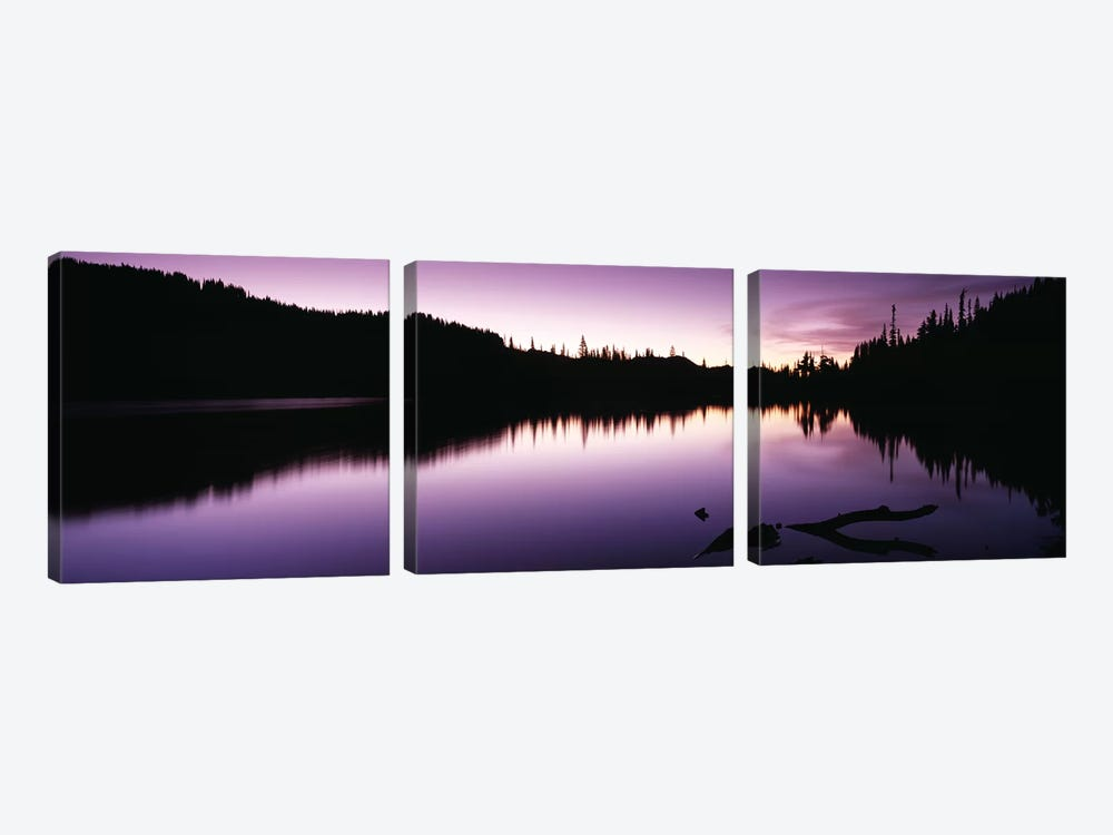Reflection of trees in a lake, Mt Rainier, Mt Rainier National Park, Pierce County, Washington State, USA by Panoramic Images 3-piece Canvas Art Print