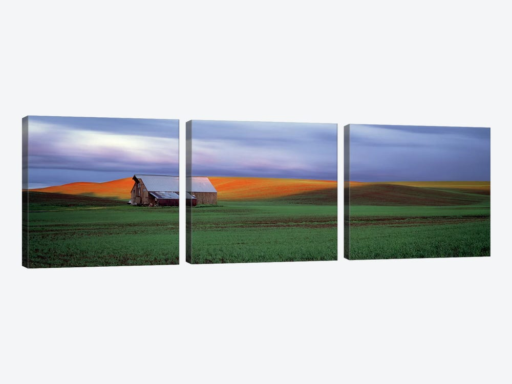 Barn in a field at sunset, Palouse, Whitman County, Washington State, USA #4 by Panoramic Images 3-piece Canvas Art Print