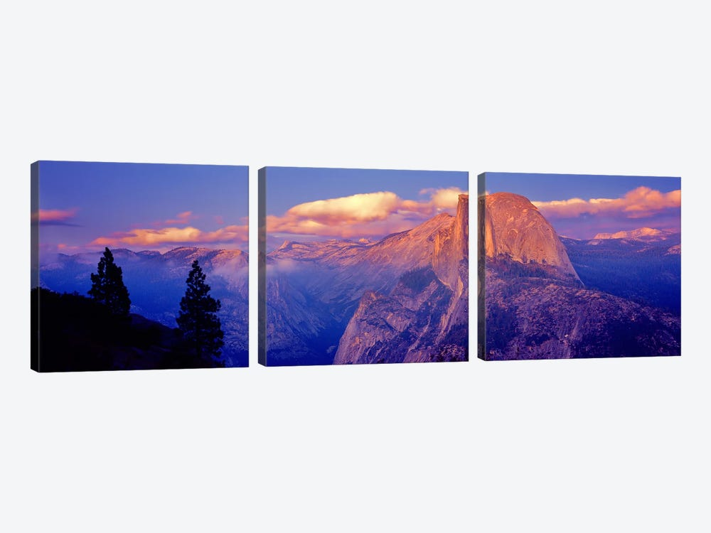 Cloudy Pastel Sunset Over Half Dome, Yosemite National Park, California, USA by Panoramic Images 3-piece Canvas Art