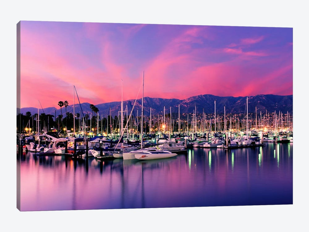Stunning Magenta Sunset Over Santa Barbara Harbor, Santa Barbara County, California, USA by Panoramic Images 1-piece Canvas Wall Art