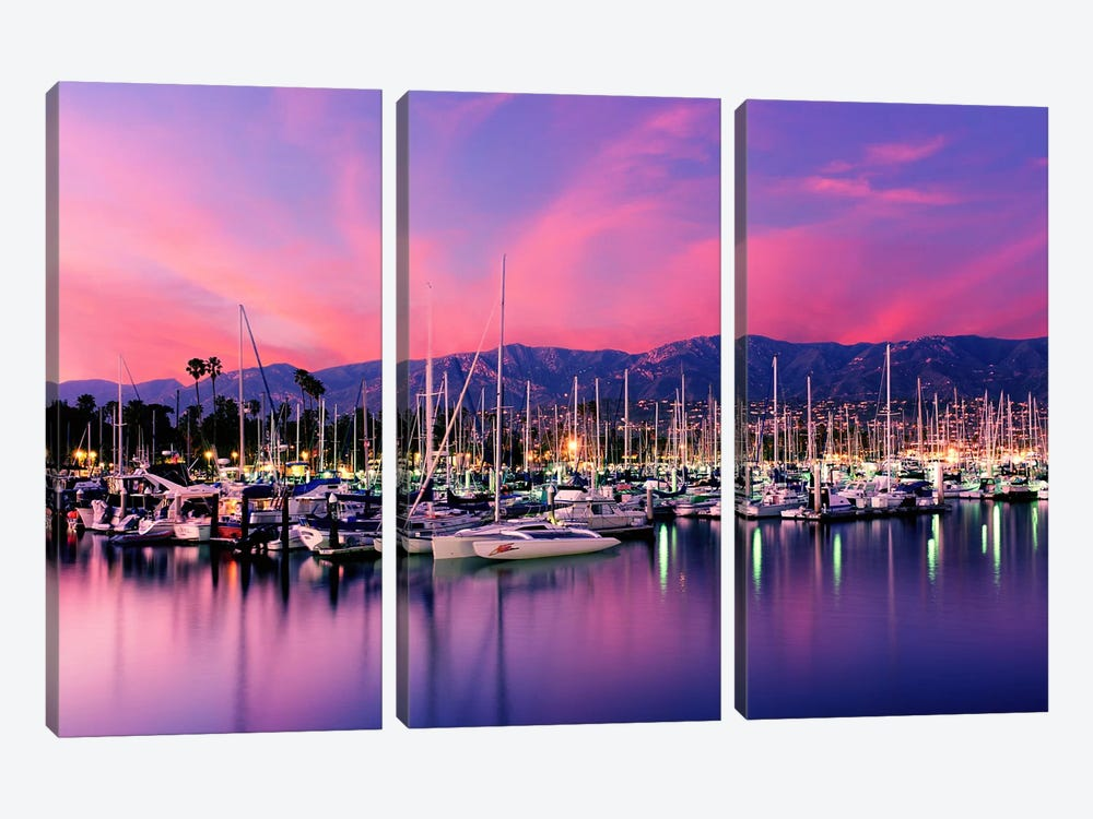 Stunning Magenta Sunset Over Santa Barbara Harbor, Santa Barbara County, California, USA by Panoramic Images 3-piece Canvas Art