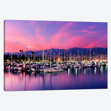 Stunning Magenta Sunset Over Santa Barbara Harbor, Santa Barbara County, California, USA Canvas Print #PIM9128} by Panoramic Images Canvas Art Print