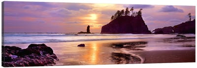 Silhouette of sea stacks at sunset, Second Beach, Olympic National Park, Washington State, USA #2 Canvas Print #PIM9137