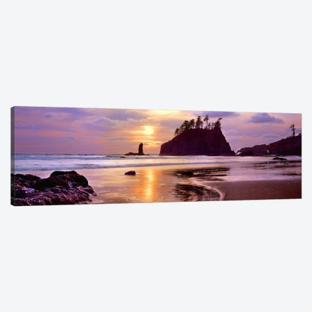 Silhouette of sea stacks at sunset, Second Beach, Olympic National Park, Washington State, USA #2 Canvas Print #PIM9137} by Panoramic Images Art Print