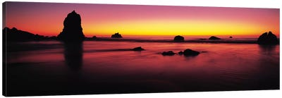 Sunset over rocks in the ocean, Big Sur, California, USA Canvas Print #PIM9139