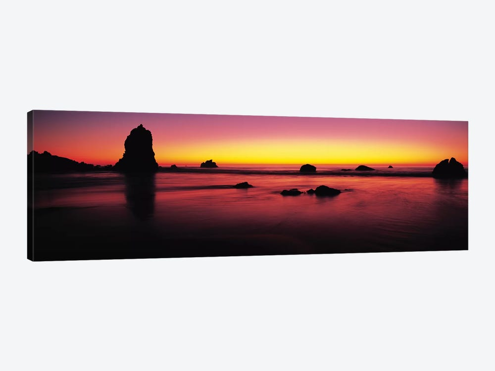 Sunset over rocks in the ocean, Big Sur, California, USA by Panoramic Images 1-piece Canvas Wall Art