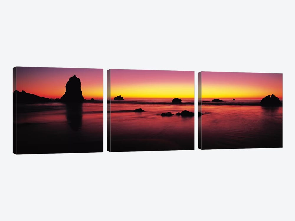 Sunset over rocks in the ocean, Big Sur, California, USA by Panoramic Images 3-piece Canvas Art