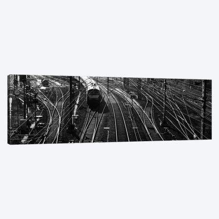 High angle view of a train on railroad track in a shunting yard, Germany Canvas Print #PIM914} by Panoramic Images Canvas Print