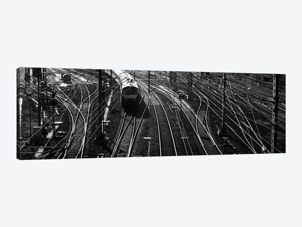 High angle view of a train on railroad track in a shunting yard, Germany by Panoramic Images 1-piece Canvas Art Print
