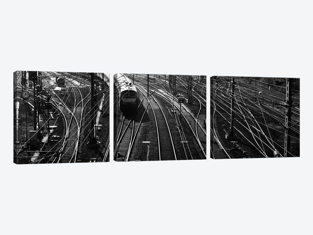 High angle view of a train on railroad track in a shunting yard, Germany by Panoramic Images 3-piece Canvas Art Print