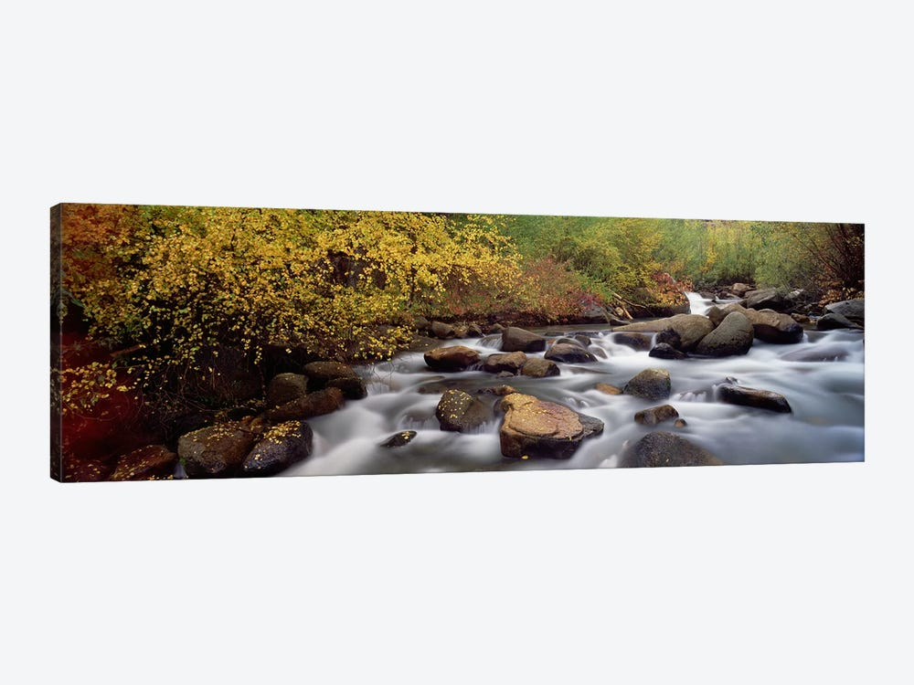 Blurred Motion View Of Water Flowing Through A Stream, Inyo County, California, USA by Panoramic Images 1-piece Canvas Wall Art