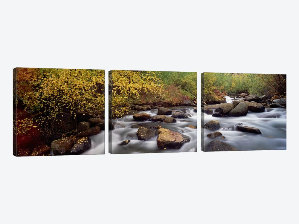 Blurred Motion View Of Water Flowing Through A Stream, Inyo County, California, USA by Panoramic Images 3-piece Canvas Artwork