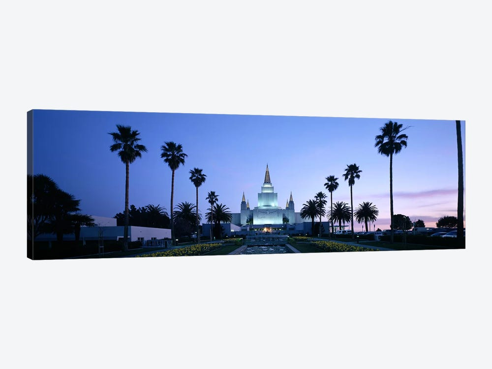 Formal garden in front of a temple, Oakland Temple, Oakland, Alameda County, California, USA by Panoramic Images 1-piece Canvas Print