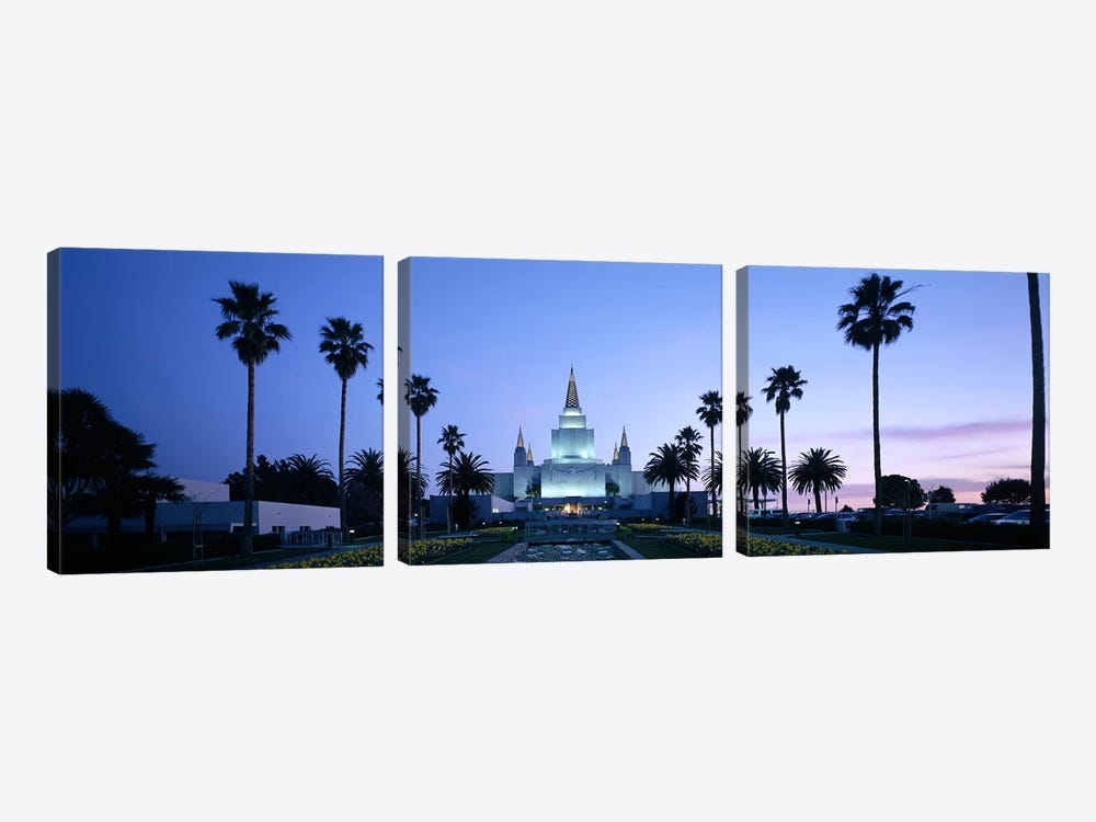 Formal garden in front of a temple, Oakland Temple, Oakland, Alameda County, California, USA by Panoramic Images 3-piece Canvas Print