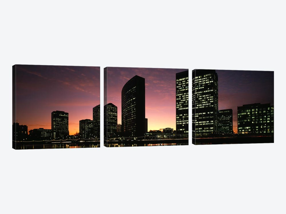 Buildings at the waterfront, Oakland, Alameda County, California, USA by Panoramic Images 3-piece Canvas Artwork