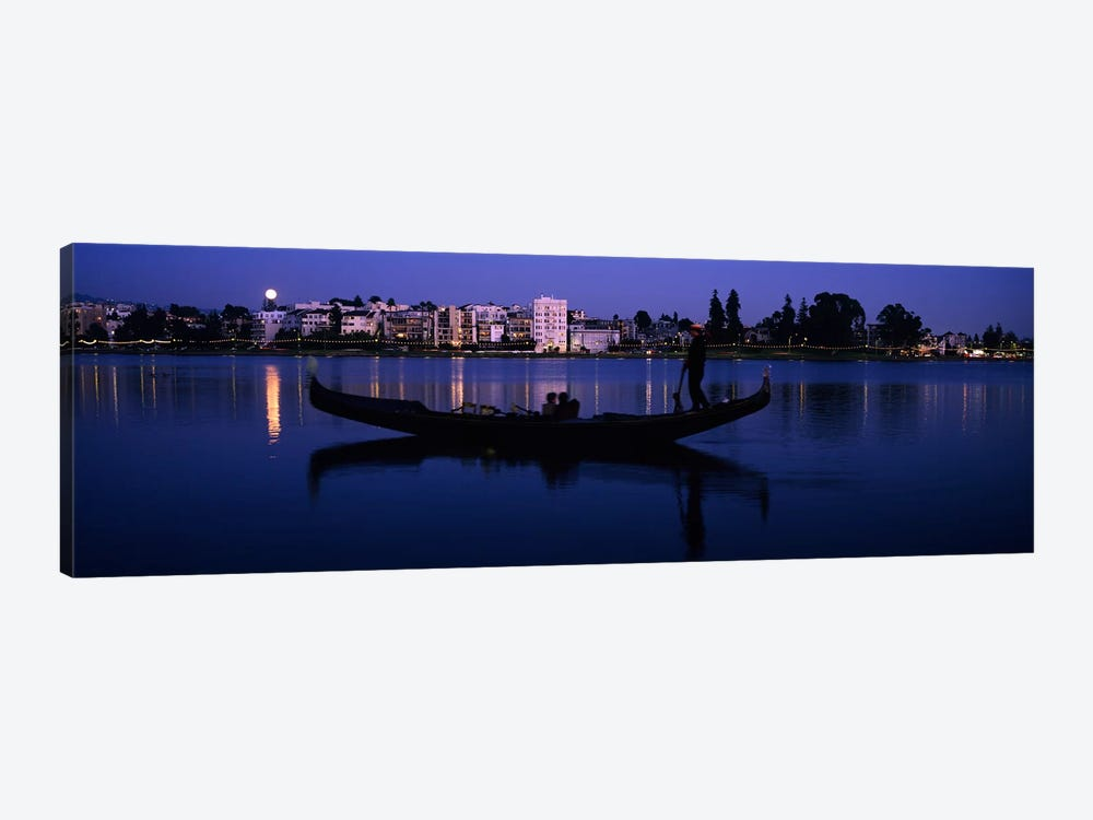 Boat in a lake with city in the background, Lake Merritt, Oakland, Alameda County, California, USA by Panoramic Images 1-piece Canvas Artwork