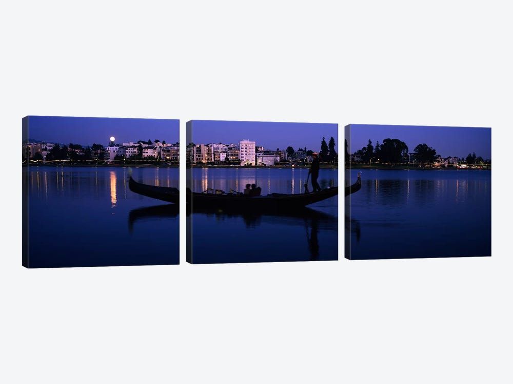 Boat in a lake with city in the background, Lake Merritt, Oakland, Alameda County, California, USA by Panoramic Images 3-piece Canvas Art