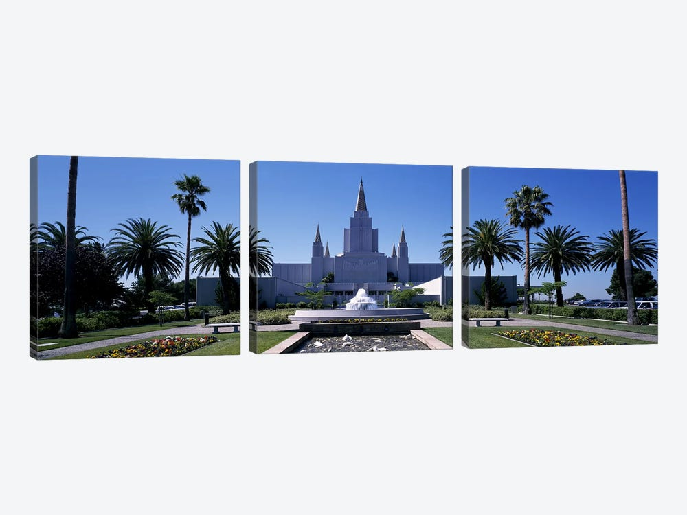 Formal garden in front of a temple, Oakland Temple, Oakland, Alameda County, California, USA #2 by Panoramic Images 3-piece Canvas Print