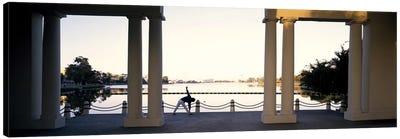 Person stretching near colonnade, Lake Merritt, Oakland, Alameda County, California, USA Canvas Art Print