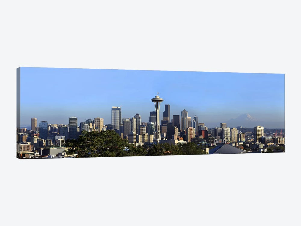 Buildings in a city with mountains in the background, Space Needle, Mt Rainier, Seattle, King County, Washington State, USA 2010 by Panoramic Images 1-piece Canvas Print