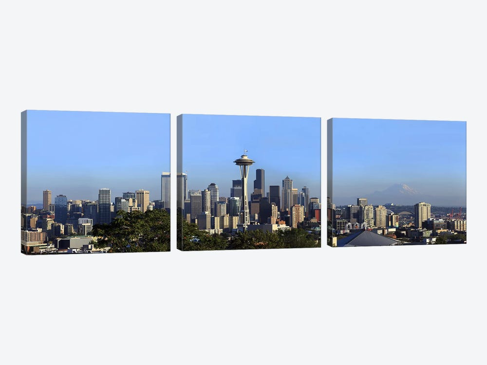 Buildings in a city with mountains in the background, Space Needle, Mt Rainier, Seattle, King County, Washington State, USA 2010 by Panoramic Images 3-piece Canvas Art Print