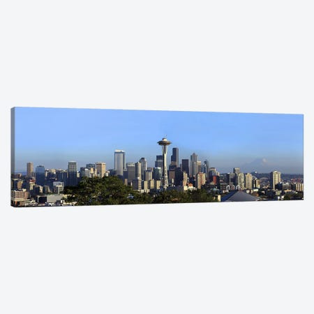 Buildings in a city with mountains in the background, Space Needle, Mt Rainier, Seattle, King County, Washington State, USA 2010 Canvas Print #PIM9167} by Panoramic Images Canvas Wall Art