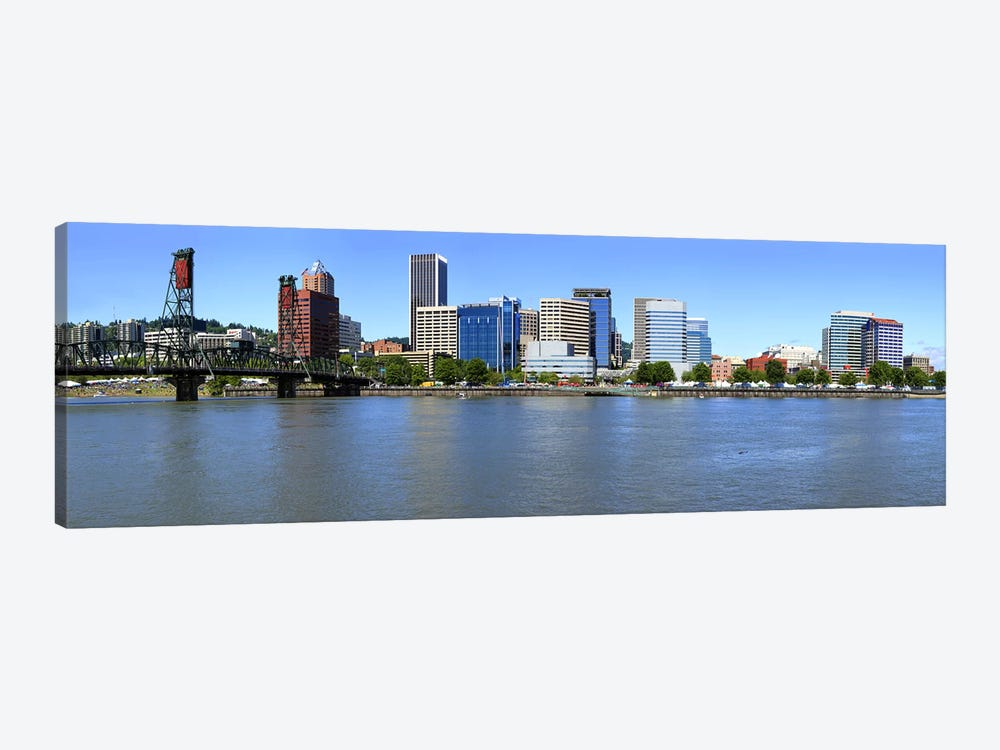 Buildings at the waterfront, Portland Rose Festival, Portland, Multnomah County, Oregon, USA 2010 by Panoramic Images 1-piece Canvas Wall Art
