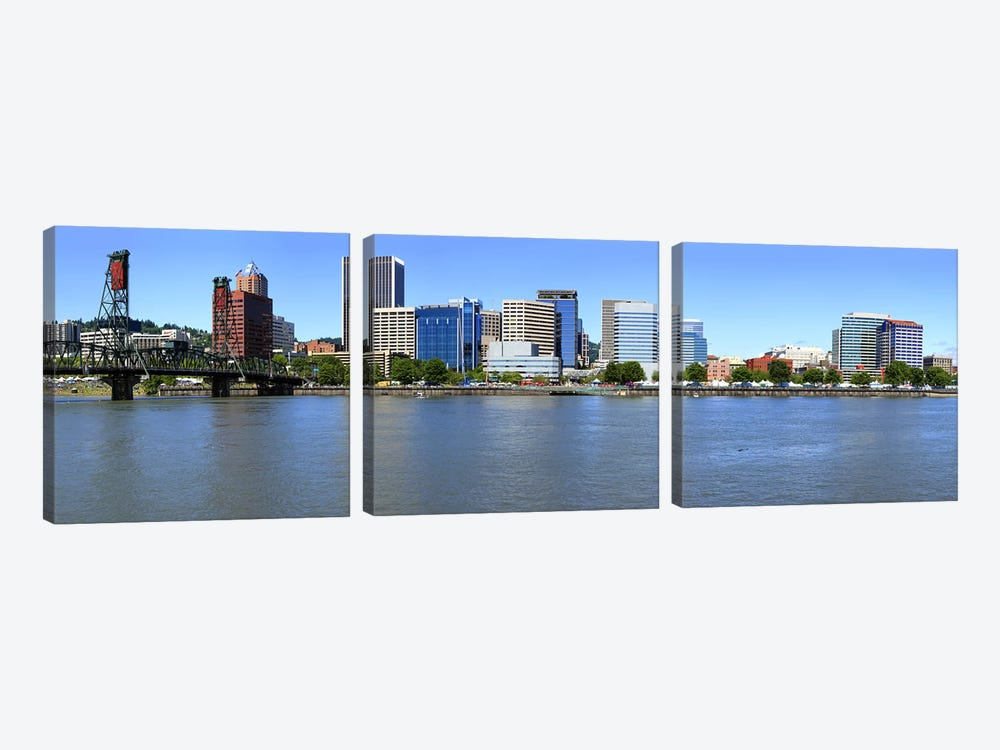 Buildings at the waterfront, Portland Rose Festival, Portland, Multnomah County, Oregon, USA by Panoramic Images 3-piece Canvas Print