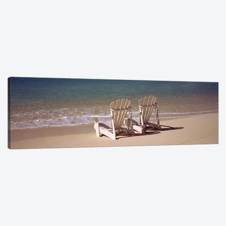 Adirondack chair on the beach, Bahamas Canvas Print #PIM9170} by Panoramic Images Canvas Artwork