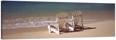 Adirondack chair on the beach, Bahamas Canvas Print #PIM9170