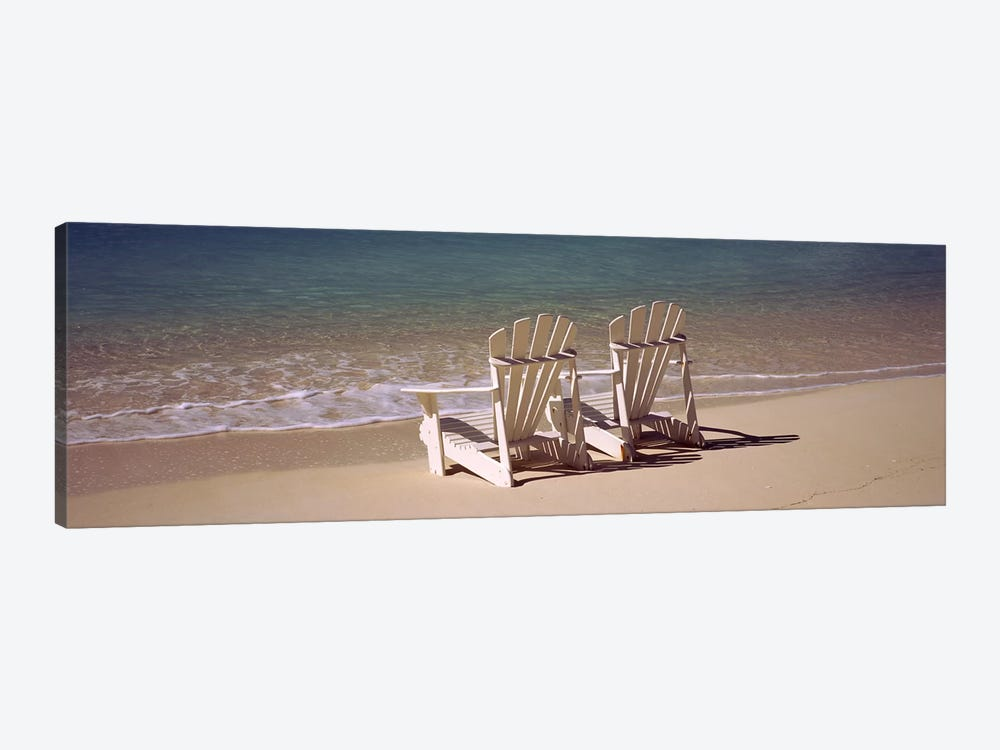 Adirondack chair on the beach, Bahamas by Panoramic Images 1-piece Canvas Print