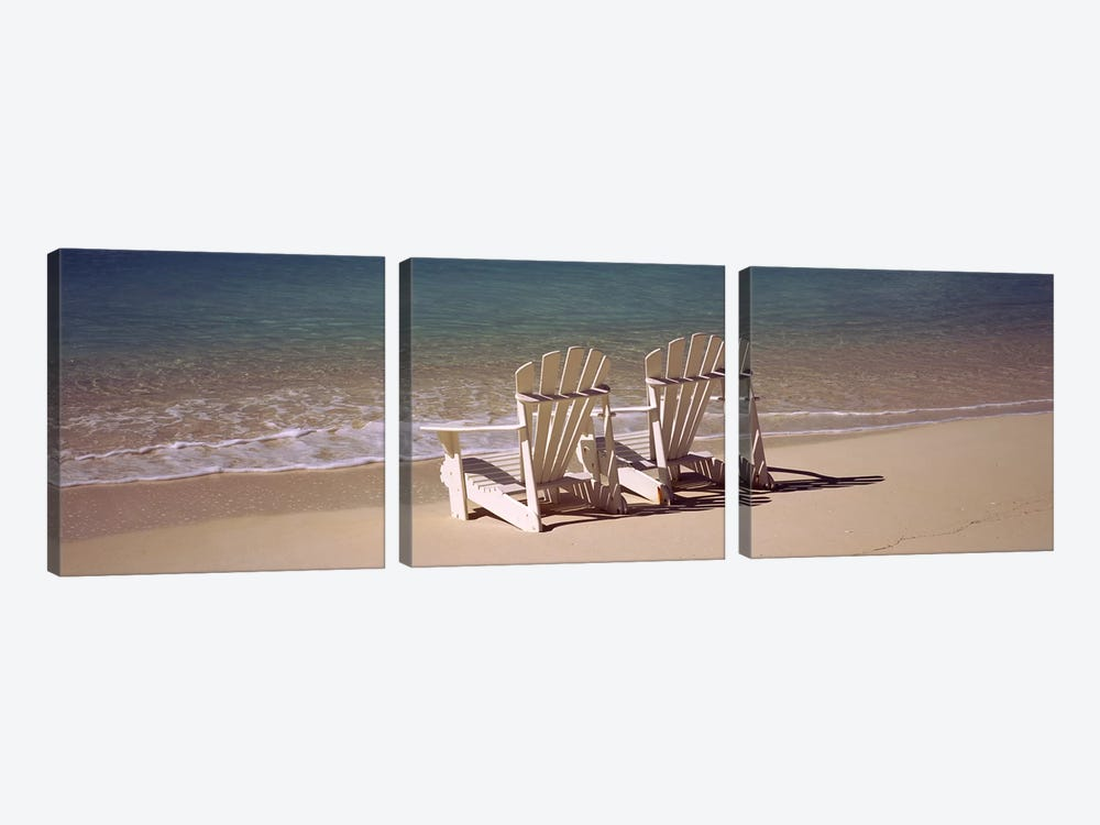 Adirondack chair on the beach, Bahamas by Panoramic Images 3-piece Canvas Print