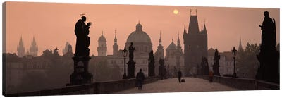 Charles Bridge at dusk with the Church of St. Francis in the backgroundOld Town Bridge Tower, Prague, Czech Republic Canvas Print #PIM9173