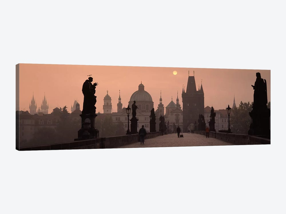 Charles Bridge at dusk with the Church of St. Francis in the backgroundOld Town Bridge Tower, Prague, Czech Republic by Panoramic Images 1-piece Canvas Art
