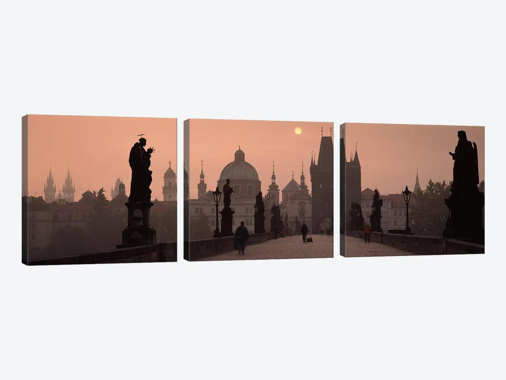 Charles Bridge at dusk with the Church of St. Francis in the backgroundOld Town Bridge Tower, Prague, Czech Republic by Panoramic Images 3-piece Canvas Wall Art