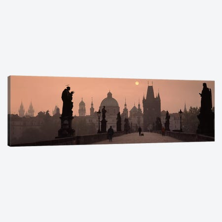Charles Bridge at dusk with the Church of St. Francis in the backgroundOld Town Bridge Tower, Prague, Czech Republic 3-Piece Canvas #PIM9173} by Panoramic Images Canvas Art