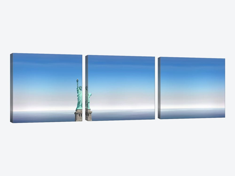 Low angle view of a statue, Statue Of Liberty, Manhattan, New York City, New York State, USA by Panoramic Images 3-piece Canvas Print