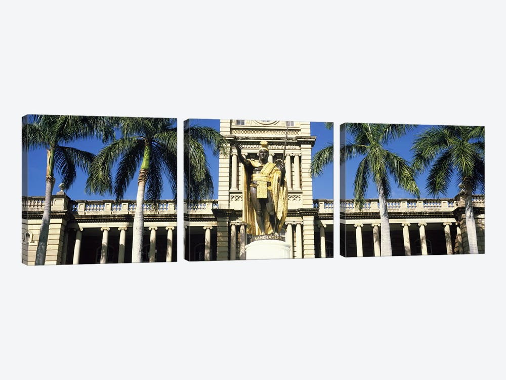 Statue of King Kamehameha in front of a government building, Aliiolani Hale, Honolulu, Oahu, Honolulu County, Hawaii, USA by Panoramic Images 3-piece Canvas Wall Art