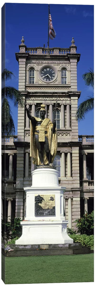 Statue of King Kamehameha in front of a government building, Aliiolani Hale, Honolulu, Oahu, Honolulu County, Hawaii, USA #2 Canvas Print #PIM9181
