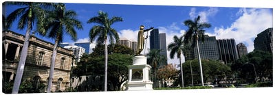 Statue of King Kamehameha in front of a government building, Aliiolani Hale, Honolulu, Oahu, Honolulu County, Hawaii, USA #3 Canvas Print #PIM9182