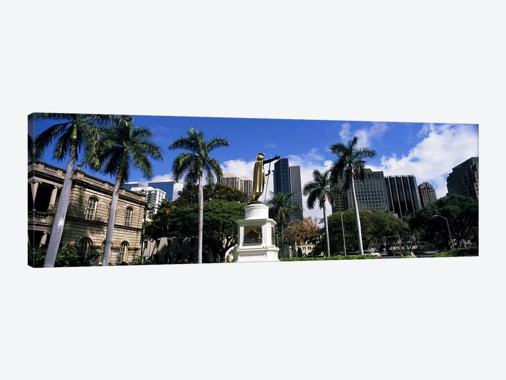 Statue of King Kamehameha in front of a government building, Aliiolani Hale, Honolulu, Oahu, Honolulu County, Hawaii, USA #3 by Panoramic Images 1-piece Canvas Wall Art