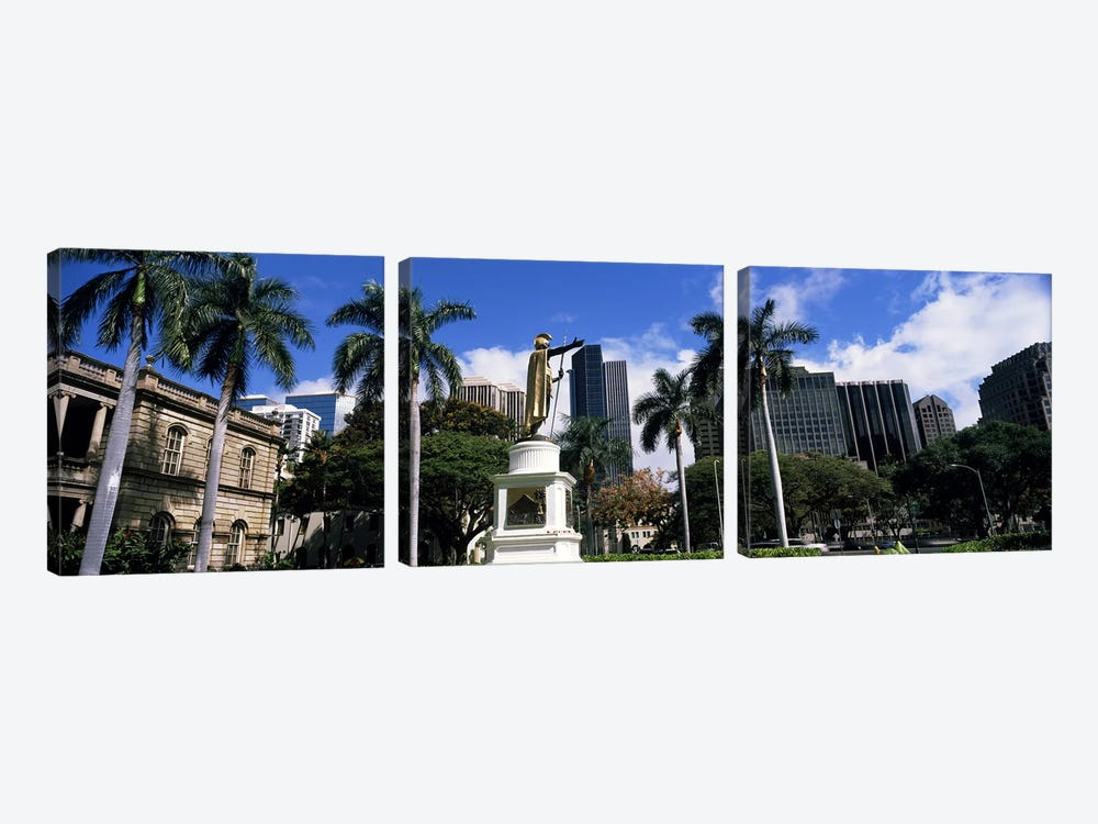 Statue of King Kamehameha in front of a government building, Aliiolani Hale, Honolulu, Oahu, Honolulu County, Hawaii, USA #3 by Panoramic Images 3-piece Canvas Artwork
