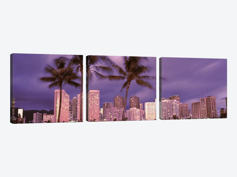 Buildings in a city, Honolulu, Oahu, Honolulu County, Hawaii, USA 2010 by Panoramic Images 3-piece Canvas Print