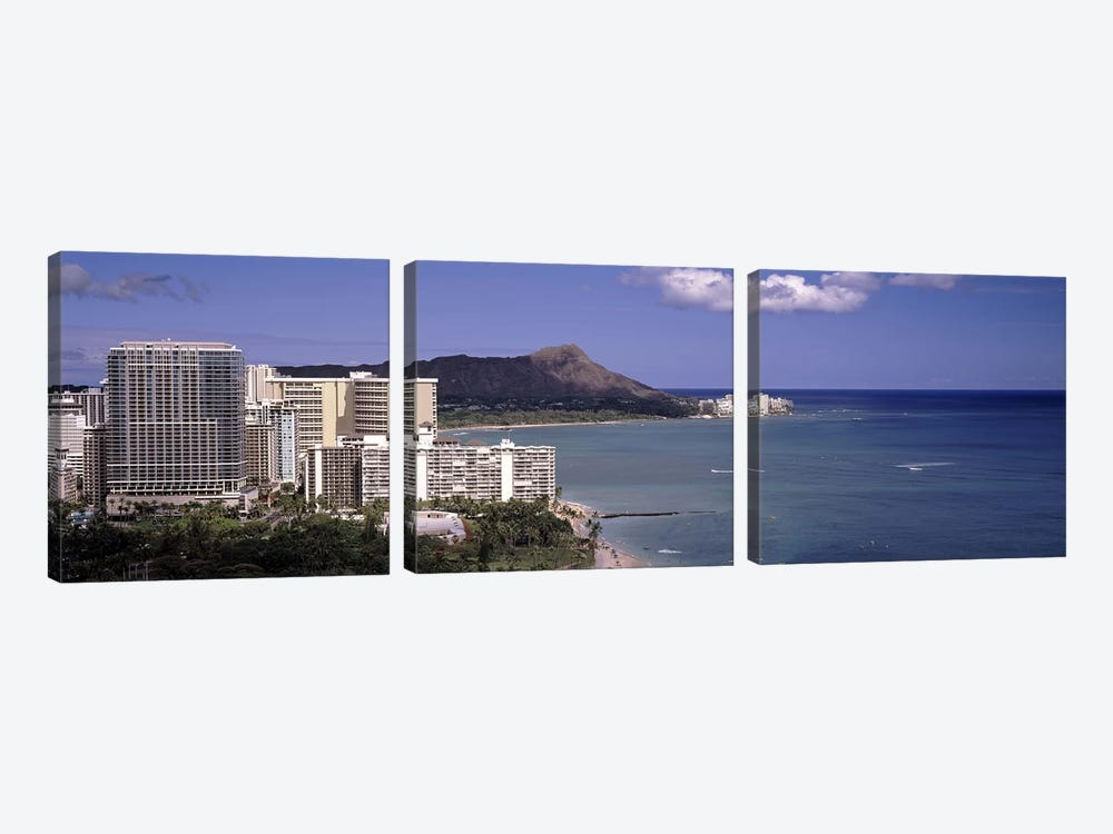 Buildings at the waterfront, Honolulu, Oahu, Honolulu County, Hawaii, USA 2010 by Panoramic Images 3-piece Canvas Artwork