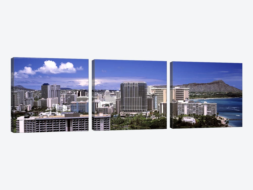 Buildings at the waterfront, Honolulu, Oahu, Honolulu County, Hawaii, USA 2010 #2 by Panoramic Images 3-piece Canvas Art Print