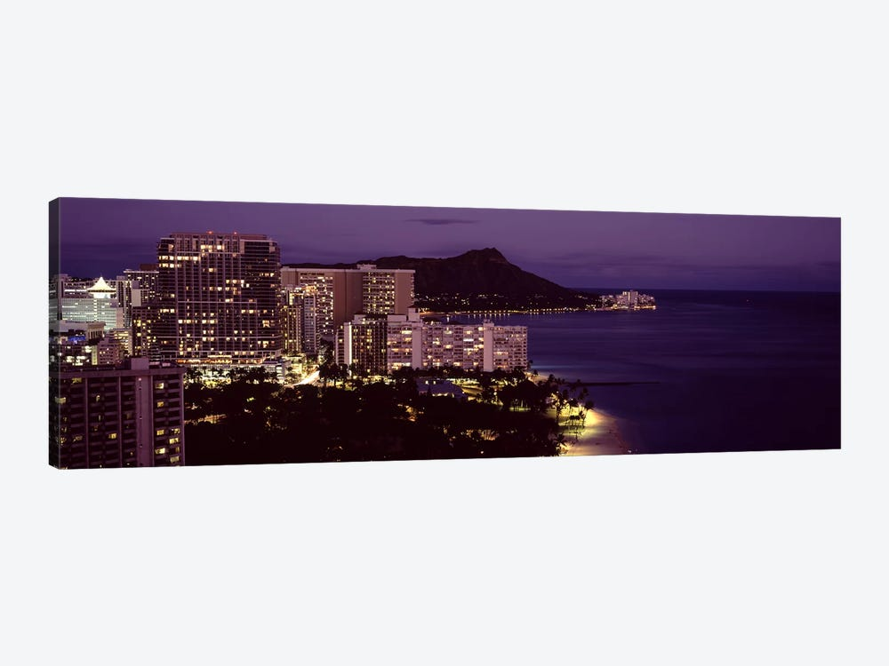 Buildings at the waterfront, Honolulu, Oahu, Honolulu County, Hawaii, USA by Panoramic Images 1-piece Canvas Art