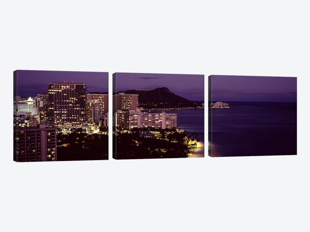 Buildings at the waterfront, Honolulu, Oahu, Honolulu County, Hawaii, USA 3-piece Canvas Artwork