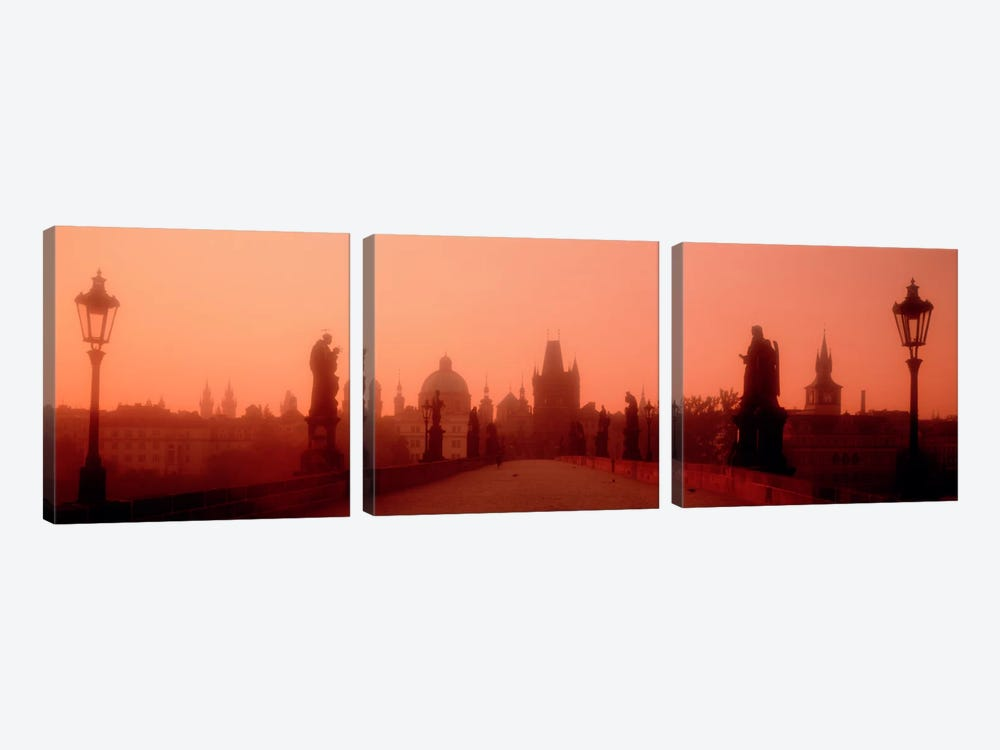 Daybreak Karluvmost Praha Czech Republic by Panoramic Images 3-piece Canvas Print
