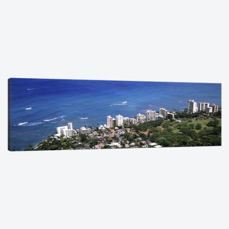 Aerial view of a city at waterfront, Honolulu, Oahu, Honolulu County, Hawaii, USA 2010 Canvas Print #PIM9190} by Panoramic Images Canvas Artwork